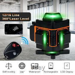 4D 16 Lines Green Laser Level 360° Auto Self Leveling Rotary Cross Measure Tool