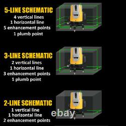 5/16 Lines Green Laser Level 360°Rotary Self Leveling Cross Measure Tool Set ##