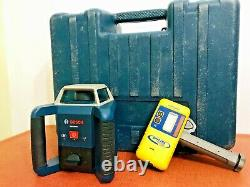 Bosch GRL400H self leveling rotary laser with case and spectra receiver hr320