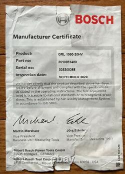 Bosch Professional Self-Leveling Rotary Laser System Kit GRL1000-20HV / GREAT
