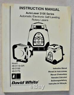 Exc David White 48-3110gr Electronic Self-Leveling Rotary Laser Single Slope USA