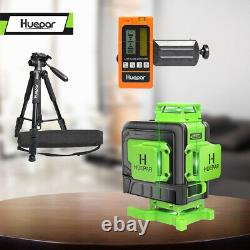 Huepar 4D 16 Lines Rotary Laser Level 360 Self Leveling Laser +Receiver +Tripod