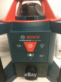 NEW Bosch GRL1000-20HV Self-Leveling Rotary Laser Tripod Grade Rod Receiver