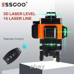 Remote 16 Line 4D 360° Rotary Green Laser Level Self Cross Measure with 2 Battery