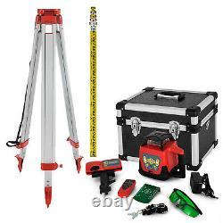 Rotary Laser Level 500m Range Automatic Self-Leveling Green Beam withTripod Staff