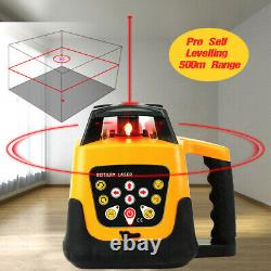 360° Automatique Auto-nivellement Red Beam Rotary Laser Level 500m +1.65m Trépied