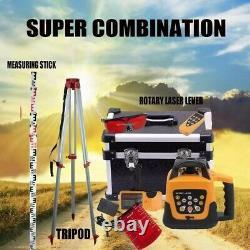 360 Degrés 500m Auto-nivellement Rotary Laser Level+1.65m Trépied+5m Bâton De Mesure
