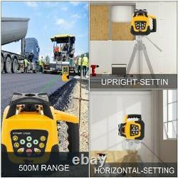 360 Degrés 500m Laser Rotatif À Auto-niveautage +1.65m Tripod+5m Stick De Mesure