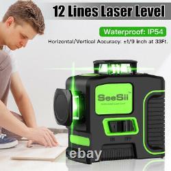 3d Rotary 12 Lignes Vert Laser Niveau Outil Mesure Auto-niveautage Pour La Construction