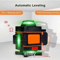 4d 16 Lignes Laser Vert Niveau 360° Auto Auto Leveling Rotary Cross Measure Tool