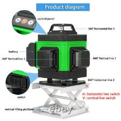 4d 360° 16 Lignes Green Laser Level Auto Self Leveling Rotary Cross Measurement Tool