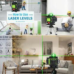 4d Niveau Laser 16 Lignes Lumière Verte Auto-nivelage À 360° Mesure Rotative Croix
