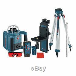 Bosch Grl300hvck 90 Degrés Autolissants Laser Rotatif Télécommande / Récepteur / Kit Trépied