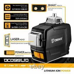 Deko 360 ° Rotary 3d Laser Vert Niveau 12 Lignes Autolissant Croix Outil De Mesure
