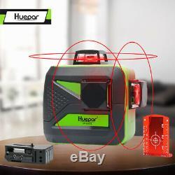 Huepar 360 Degrés Niveau Laser Rotatif Croix-rouge Ligne Laser Autolissant 3 Cercle