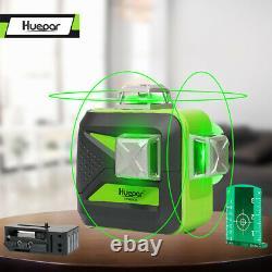 Huepar 3d Cross Ligne Niveau Laser Rotatif Croix Verte Ligne Laser Autolissant 40m