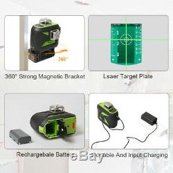 Huepar Niveau Laser Rotatif 3d Green Cross Ligne Autolissant Outil Professionnel