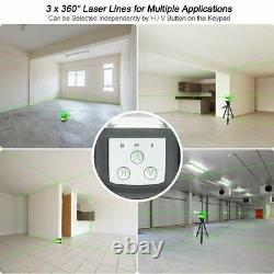 Huepar Rotary 3d Cross Line Self Leveling Laser Niveau 3360 12 Lignes + Récepteur