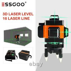 Remote 16 Ligne 4d 360° Rotary Green Laser Level Self Cross Measurement Avec 2 Batteries